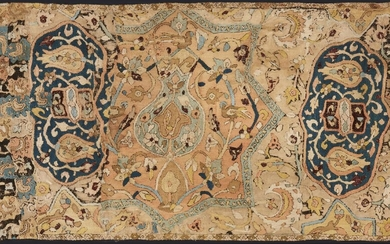 An embroidered Mughal textile, India, 19th century, embroidered in pink, white, purple, olive green, taupe silk ground, with a flowering vase and columns either side themselves issuing form flower sprays which form an arch over the vase, within a...