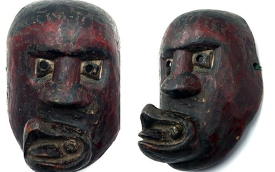 Ancient grimacing medicine mask for a bon ceremonial wooden shaman. (1) - Wood - Nepal - First half 20th century