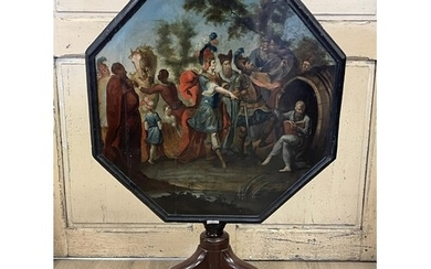 Antique English George II painted top tea table, octagonal ...