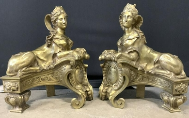 Antique Sphinx Brass Ornate Fireplace Andirons