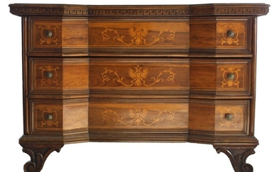 Antique chest of drawers in solid walnut inlaid with walnut briar from northern Italy second half (1) - Solid Walnut and Walnut Burl - Second half of 1800
