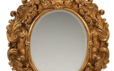 Baroque-Style Carved Giltwood Mirror