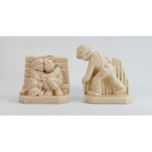 Beswick rare book ends ARP Warden: and Army Cooperative help...