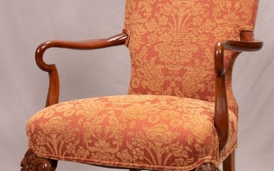 """CHIPPENDALE STYLE UPHOLSTERED MAHOGANY ARMCHAIR, H 41"""", W 26"""""""