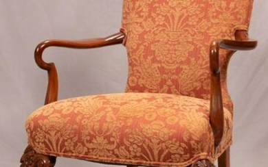 """CHIPPENDALE STYLE UPHOLSTERED MAHOGANY ARMCHAIR, H 41"""""""