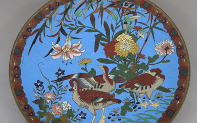 CLOISONNÉ PLATE - Japan, motif with group of geese.