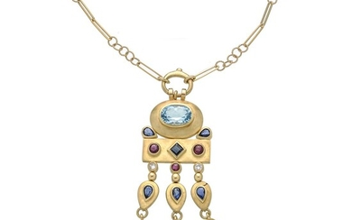 Chain with pendant in yellow gold, diamonds, sapphires, rubies and blue topaz
