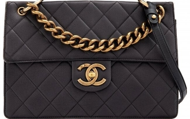 Chanel Black Quilted Caviar Leather Crossbody Fl