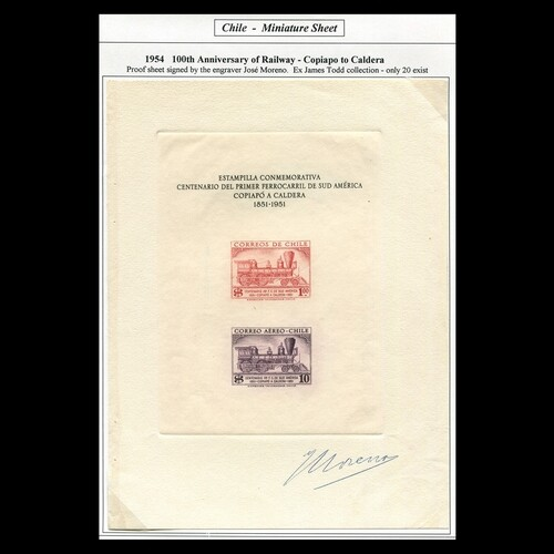 Chile : 1954 'Chilean Railway Centenary' miniature sheet sig...