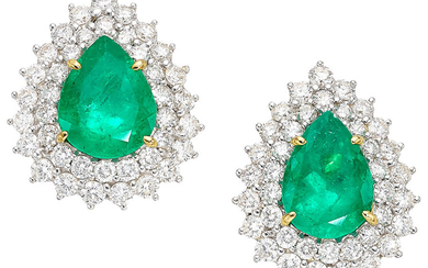 Colombian Emerald, Diamond, Gold Earrings Stones: Pear-shaped emeralds weighing...