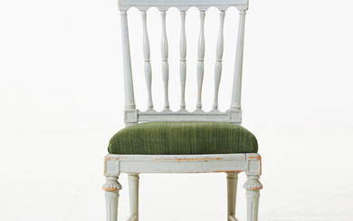 EPHRAIM STÅHL (1767-1820). chair, late Gustavian, 19th century, carved decor, later painted, signed ES.
