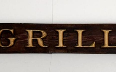 """Early Adirondack """"Grill"""" Wood Trade Sign, c 1915"""