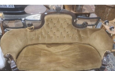 Early Victorian sofa with mahogany carved show frame, turned...