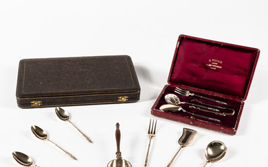 Eight Pieces of French Silver Tea Ware with Cased Spoon Set