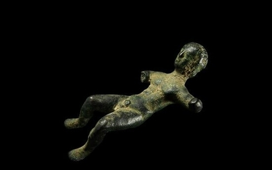Etruscan Statuette, Reclined Male with Inscription