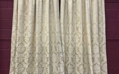 Four pairs of good quality interlined cream damask curtains with pelmets