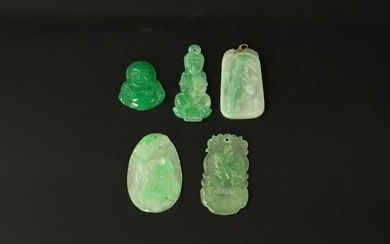 Group of 5 Chinese Figural Jadeite Pendants Laughing