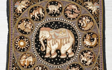 INDIAN SILVER AND GOLD THREAD ELEPHANT EMBROIDERY