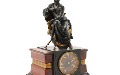 Jean Jules Salmson: A gilt and patinated bronze figure, the base inset with clockwork. Late 19th century. H. 47 cm. W. 33 cm. D. 24 cm. – Bruun Rasmussen Auctioneers of Fine Art
