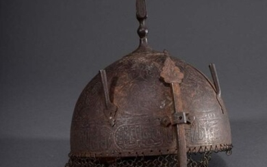 Kulah Khud helmet with etched decoration and Koran suras, Persia...