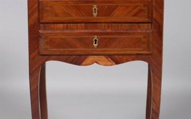 LOUIS XV STYLE MARQUETRY INLAID KINGWOOD DRESSING TABLE