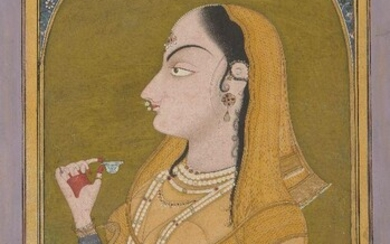 Lady holding a Wine Cup, by a Pahari artist working in the Garhwal style, 1780-1800, opaque watercolours heightened with gold on paper, 29.8 x 18.6cm. A heavily bejewelled lady is seated at a white marble balcony holding a blue-and-white porcelain...