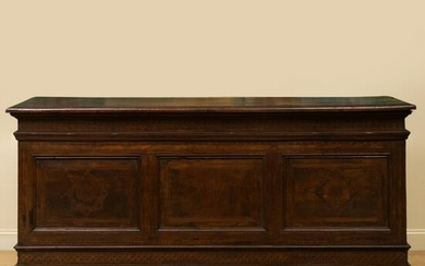 Large Italian Baroque Inlaid Walnut and Fruitwood Chest