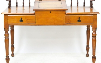 Late 19th c. Refinished Pine Stationmaster's Desk