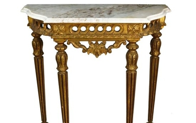 Louis XVI Credential, in gilt and marble - Louis XVI Style - Marble, Wood - 20th century