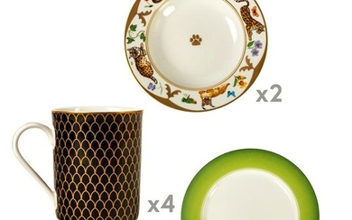 Lynn Chase Porcelain China Dinnerware Plates Cups