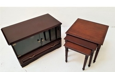MAHOGANY AND CROSSBANDED NEST OF TABLES with square tops, st...
