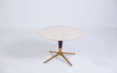 MELCHIORRE BEGA. Wood, brass and marble coffee table