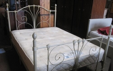 Metal Framed Double Bed with Slumberland Mattress.
