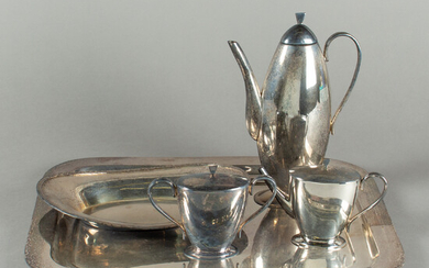 Mocha service, tray and bowl, silver-plated (5).