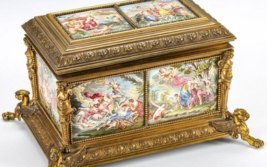 NEO-CLASSICAL CASKET WITH EIGHT VIENNESE ENAMEL PLAQUES