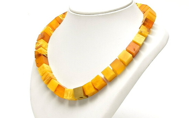Necklace of square cut cubes of amber, with square golden...