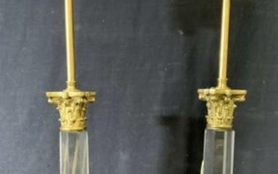 Pair Brass and Composite Columned Tabletop Lamps