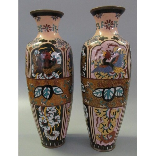 Pair of Chinese cloisonne vases of ovoid form decorated with...
