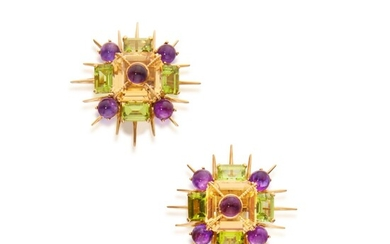 Pair of Citrine, Amethyst, and Peridot Earclips, Tony Duquette