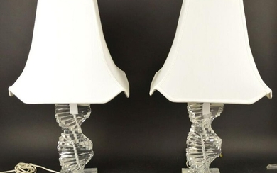 Pair of Vintage Mid-Century Stacked Helix Lucite Lamps