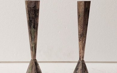 Pair of candlesticks (2) - Silver - Israel - Early 20th century