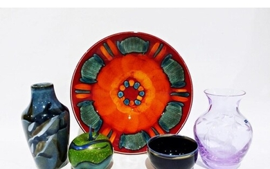 Poole pottery dish decorated in oranges and turquoise, 26.5c...