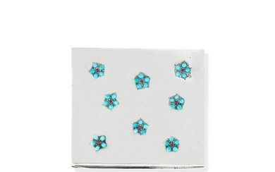 Poudrier argent, rubis et turquoises | Silver, ruby and turquoise powder compact, René Boivin