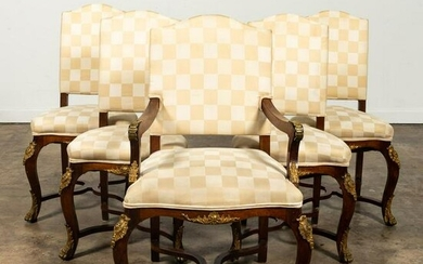 SET, 5 ROCOCO STYLE ORMOLU MOUNTED DINING CHAIRS