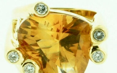 SIGNED FGP 18K YELLOW GOLD DIAMOND & CITRINE HEART