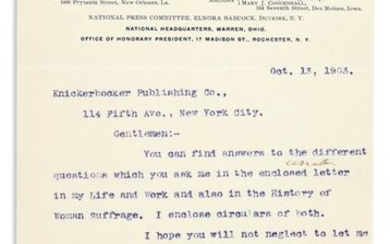 (SUFFRAGISTS.) ANTHONY, SUSAN B. Typed Letter Signed