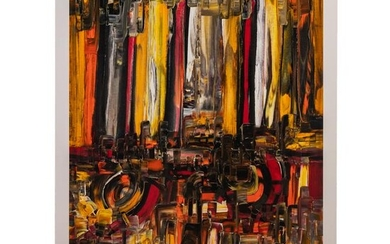 Sam Fargues b.1966 Downtown Abstract Oil Painting