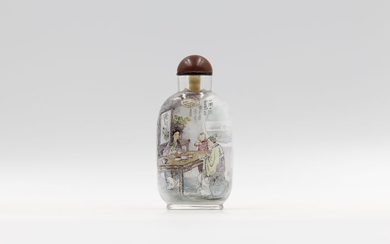 Snuff bottle - Glass - Human Figure - By Huang San - China - Late 20th century