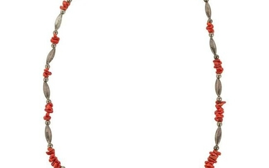Southwest Navajo Coral and Silver Beaded Necklace