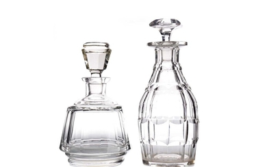 THREE 19TH CENTURY CUT GLASS DECANTERS, ALONG WITH A VASE